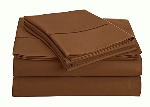 True Luxury 100% Egyptian Cotton - Genuine 1000 Thread Count 4 Piece Sheet Set- Color Dark Brown, Size California King - Fits Mattress Upto 18'' Deep Pocket Brown Wash Finish