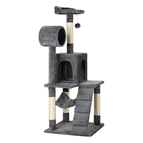 Yaheetech Cat Tree Tower Kitten Condo Scratching Post with Hammock Tunnel 51'