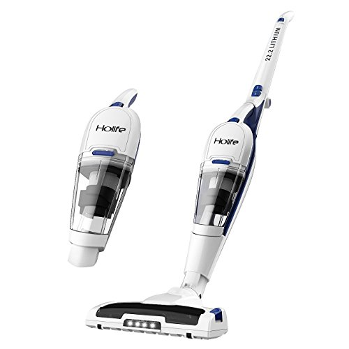 Vacuum Cleaner, HoLife 2-in-1 Upright Handheld Vacuum Cordless Rechargeable Bagless Stick with LED Light