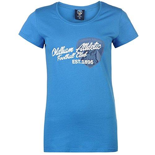 Team Mujer Oldham Athletic Grafico Camiseta Estampa Mangas Cortas Cuello Redondo Royal