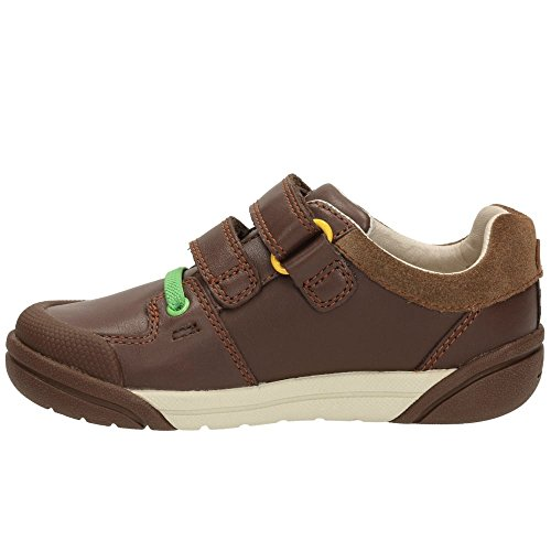 Clarks LilfolkCub Pre Walker Boys Trainers in Brown or Navy Leather Brown
