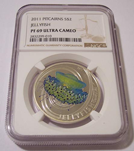 2011 PN Pitcairn Islands - 1/2 Ounce Silver Jellyfish Low Mintage Proof $2 PF69 UC NGC