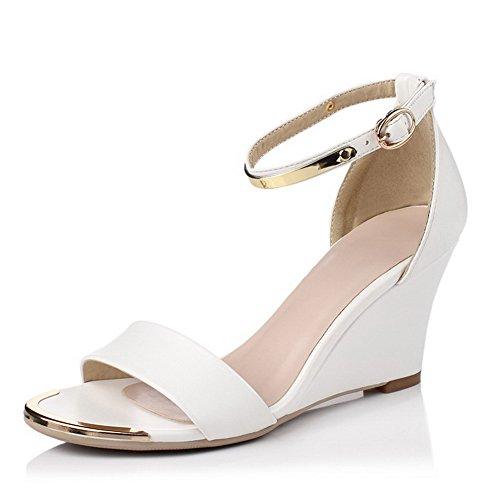AllhqFashion Womens Open Toe Buckle Microfiber Solid High Heels Sandals White ZzRgb0iJHA