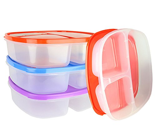 (3 Pack) Large 3 Compartment Microwavable Food Container with Lid / Divided Plate  sc 1 st  Desertcart : sectional plates with lids - Sectionals, Sofas & Couches