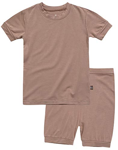 Boys Short Sleeve Sleepwear Pajamas 2pcs Set Short Colorful Brown L