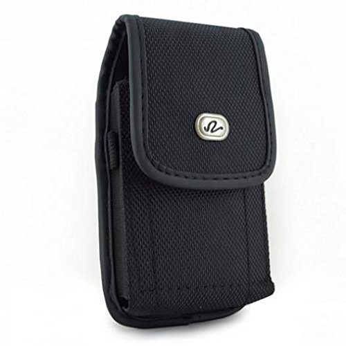 Black Rugged Canvas Side Case Cover Protective Pouch Holster Belt Clip for Tracfone LG Power - Tracfone LG Rebel - Tracfone LG Ultimate 2