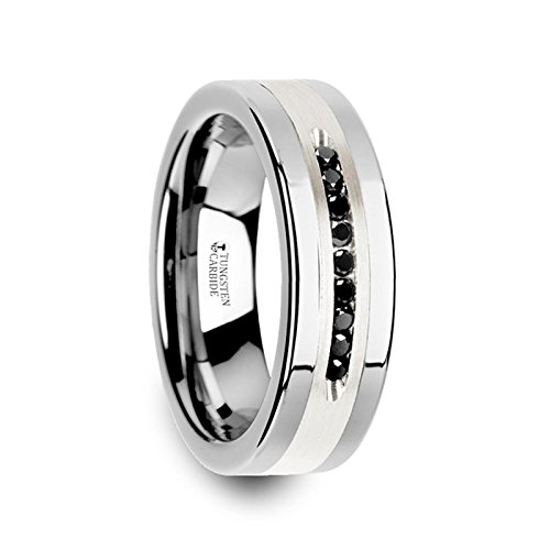 - BLACKSTONE Flat Tungsten Wedding Band with Brushed Silver Inlay Center and 9 Channel Set Black Diamonds - 8mm
