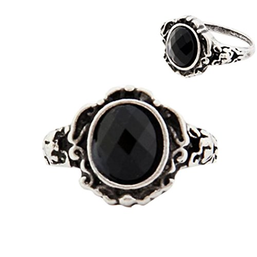 Clearance Rings,Women Ladies Fashion carved Vintage Imitate Black Onyx Ring (Onyx Scroll)