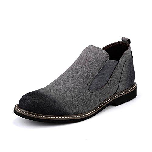 Zapatos casuales de cuero de los hombres vestido otoño botas la boda moda] resbalón encendido negro-marrón-Gris Longitud del pie=42EU