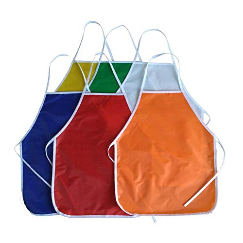 (6 Pieces Children's Art Aprons Kids Art Smocks Children Painting Aprons Waterproof Kids Aprons No-Pocket for Painting Classroom)