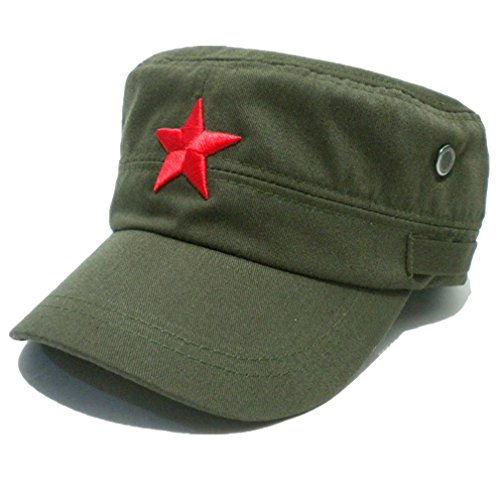 Fatigue Style Hat - COOLSOME Vintage Fatigue Red Star Mao Army Military Hat (Military Green)
