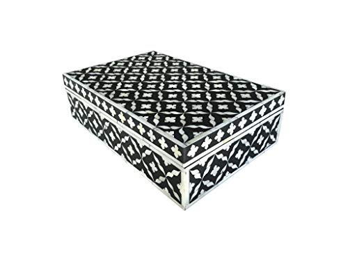 Handmade Black Flower Pattern Bone Inlay Jewellery Vanity Box ()