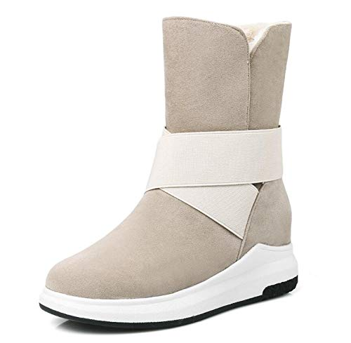 - colorful-space Women's Mid-Calf Boots The New Beige Gray Black Casual Flat Warm Woman Snow Boots n287,Beige,7.5