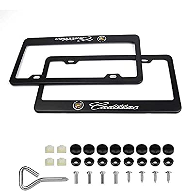 2Pcs Newest Matte Aluminum Alloy Logo License Plate Frame for Cadillac, with Screw Caps Cover Set, Applicable to US Standard car License Frame: Automotive
