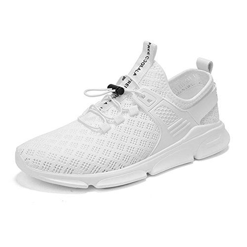 Lovers Tulle Sneakers 2018 Summer/Fall Comfort/Breathable / Hollow Knit Sports Fashion Casual Running Shoes Men/Ladies Low-top Casual Shoes/Travel Shoes (Color : White, Size : 45) by CAI