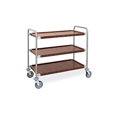 Carro de servicio (acero y chapa simil madera 3 pisos metalcarrelli: Amazon.es: Hogar
