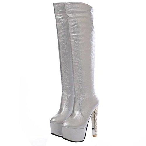 AIYOUMEI Damen Stiletto Kniehohe Stiefel mit Plateau und 15cm Absatz High Heels Elegant Winter Langschaftstiefel Schuhe Silber