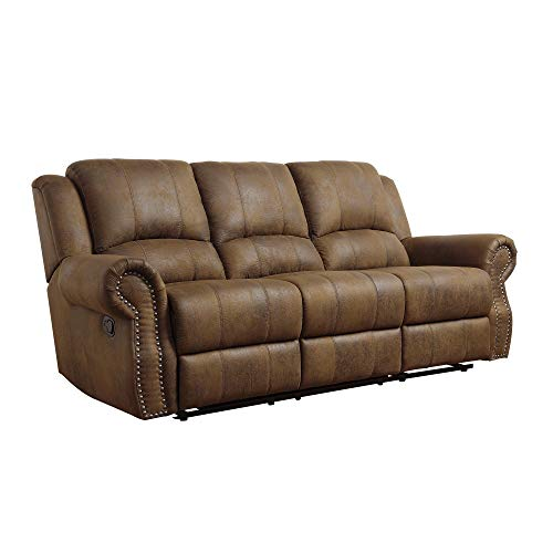 Coaster Home Furnishings Sir Rawlinson Motion Sofa with Nailhead Studs Buckskin Brown ()