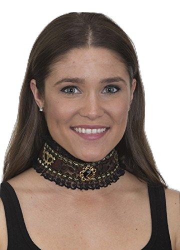 Steampunk Victorian Era Black Corset Choker Collar Jewel Gears Costume Accessory