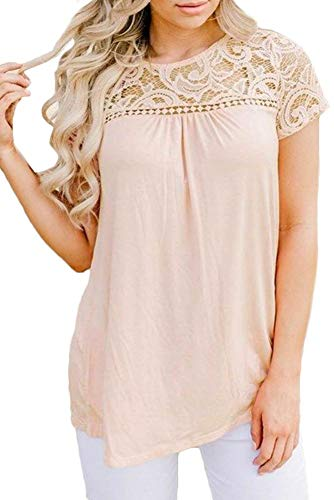 (Spadehill Women's Short Sleeve Floral Lace Summer Blouse Plain Casual Elegant T Shirt Light Pink M)