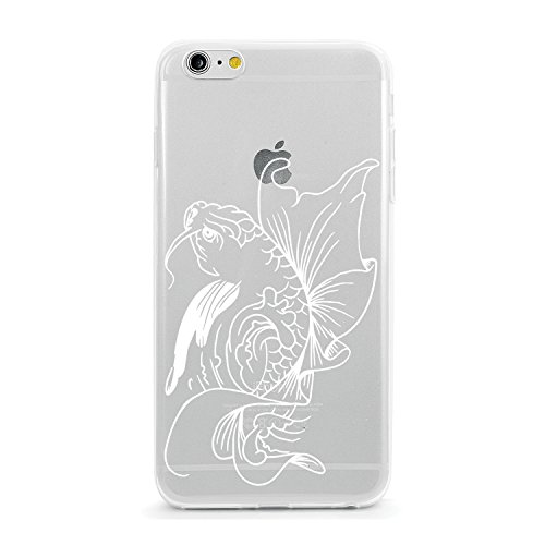 Printed TPU Soft Silicone Case Apple iPhone and Samsung Galaxy Animal Tattoo Koi Fish iPhone 6 Plus or iPhone 6s Plus White Ink on Clear Case (Iphone 6 Cases Koi Fish)