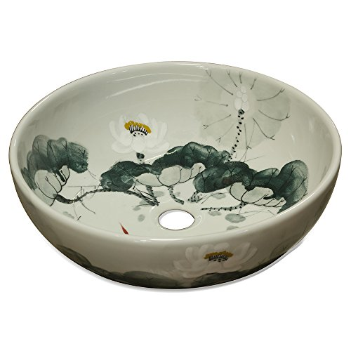 ChinaFurnitureOnline Porcelain Basin, Hand Painted Lotus Flower Motif with Koi Pond Vanity Bowl Green and White Glaze -