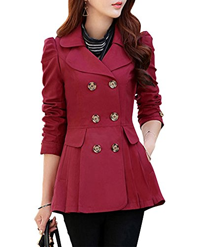 Femme Revers Splice Manteau Slim Trench Jacket Double Boutonnage Manteau Vin Rouge