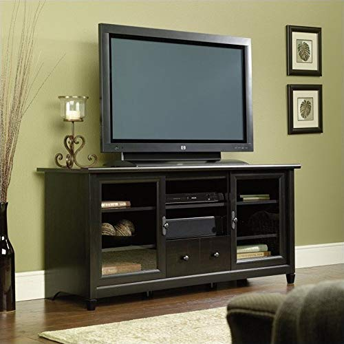 """Sauder 409048 Edge Water Entertainment Credenza, For TV's up to 55"""", Estate Black finish"""