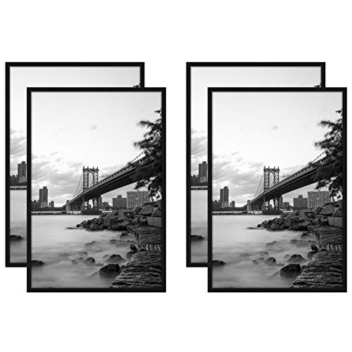 - Americanflat 4 Pack - 24x36 Black Poster Frames - Display Vertically on a Wall - Display Horizontally on a Wall - Plexiglass Front