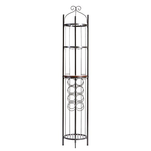 - Celtic Wine Rotunda - Wine Storage, Glassware Racks w/ Shelf - Gunmetal Gray Finish