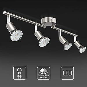 Uchrolls LED Ceiling Light rotatable,4 Way GU10 Modern Ceiling Spotlight for Kitchen, Living Room and Bedroom, Complete…