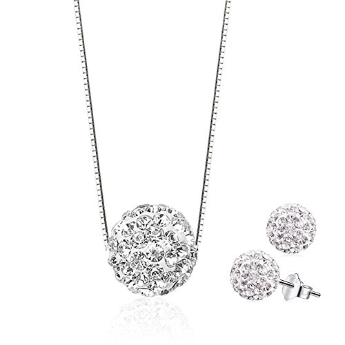Sterling Silver Diamond Pendant Necklace (20 Collections Option), S925 Crystal Heart Round Cubic Zirconia Jewelry (16+2inch Chain) (Swarovski Zircon Necklace)