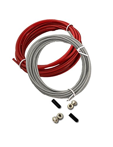 Fit Vikings Replacement Cable for Speed Jump Rope - 2 x 10ft Replacement Cords - with Screws and End ()