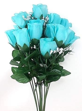 19-Rose-Bud-Bush-Artificial-Silk-Wedding-Craft-Flowers-Home-Decor-14-Heads