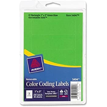Avery 05494 Print Or Write Removable Color Coding Laser Labels 1 X 3