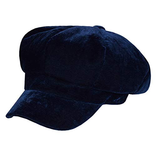 - Clecibor Velvet Newsboy Cap Women Soft Warm Painter Hat Octagonal Cap Plain Beret, Navy Blue