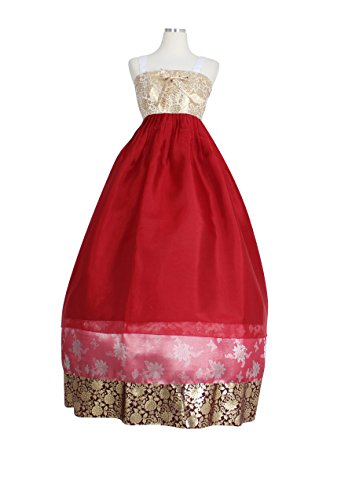 Hanbok Korea Traditional Costumes Womens Junior Hanbok Skirt Dress Party Birthday Ceremony skdre01 (skirt length 150cm (170cm - )) by Hanbok store