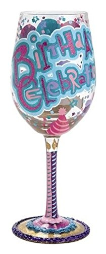 Lolita Birthday Celebration Artisan Hand Painted Wine - Celebration Birthday Glass
