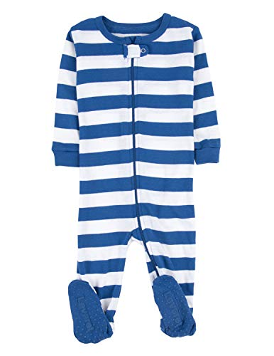 Leveret Kids Striped Baby Boys Footed Pajamas Sleeper 100% Cotton (Size 6-12 Months, Blue & White)