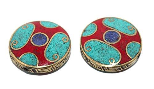 (Handmade Nepalese Turquoise Coral Lapis Tibetan Beads)