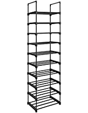 SONGMICS schoenenrek met 10 planken, groot metalen schoenenrek, doe-het-zelf, standplank, ruimtebesparend, multifunctioneel, woonkamer, slaapkamer, keuken, 45 x 30 x 174 cm, zwart LSA25BK