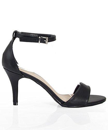 Women's Fashion Vegan Open Toe Ankle Strap Sandal Pump BLACK (8.5)