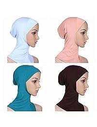 Ksweet 4 x Hijab Caps Women Full Cover Hijab Bonnet Islamic Head Scarves
