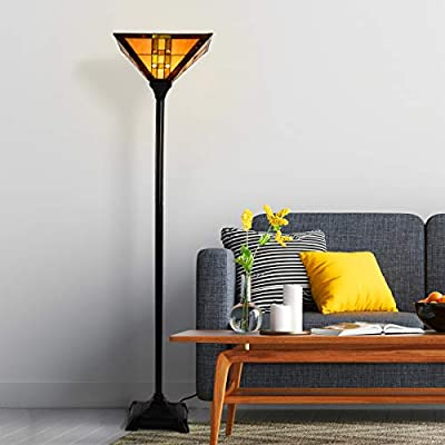 Lavish Home A100081 Tiffany Style Floor Lamp - Mission Design Art Glass Torchiere Lighting LED Bulb Included-Vintage Look Handcrafted Accent Decor, Multi-Color