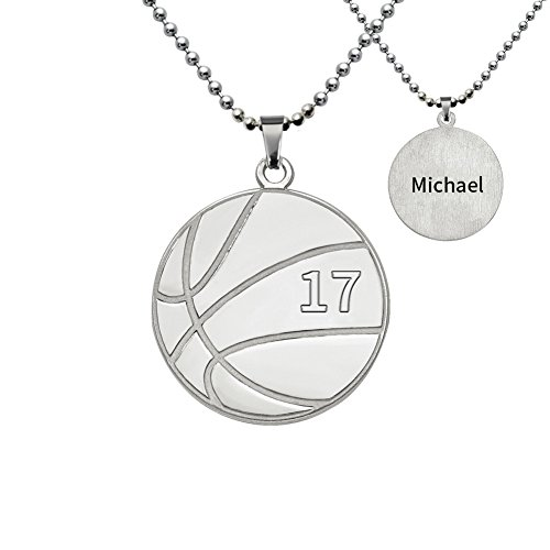 Ouslier Personalized 925 Sterling Silver Men's Ball Pendant Name Necklace Custom Made with Any Name (Basketball)