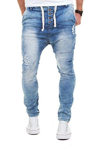 SKY REBEL Jogg Jeans Hose Herren Sweathose Jogging Joggjeans Chino Slim Fit Blau W29-W38 L32/L34