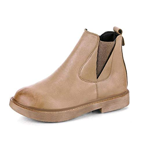 Western Boots 10 Probaby - York Zhu Women Boots, Chelsea Boots with Round Head Flat Soles Suede Retro Boot