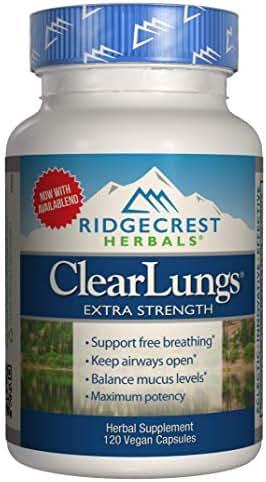 Ridgecrest Clearlungs Extra Strength, Herbal Decongestant, 120 Vegan Capsules