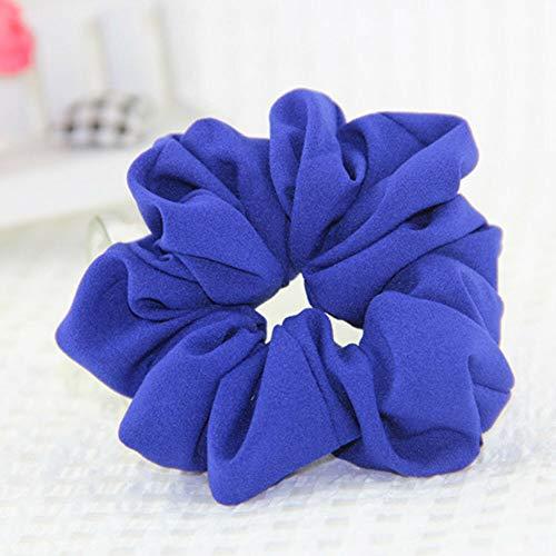 Womens Elastic Hair Rope Ring Tie Scrunchie Ponytail Holder Hair Decor Headband (Color - blue)