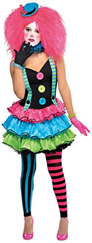 Teen Girls Colourful Clown Bright Circus World Book Day Week Halloween Carnival Fancy Dress Costume Outfit (12-14 Years) ()